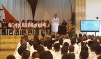 Angie Motshekga, Minister for Basic Education addresses at Ponelopele Oracle Secondary School