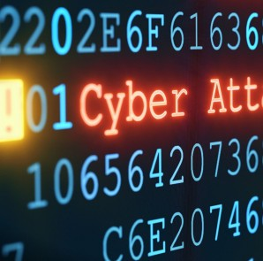 A close-up on an abstract design of a display, which is warning about a cyber attack. Multiple rows of hexadecimal code are interrupted by red glowing warnings and single character exclamation marks. The image can represent a variety of threats in the digital world: data theft, data leak, security breach, intrusion, etc...
