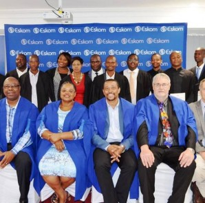 Dignitaries (seated from left): Senior Manager for Industry Support at Eskom KZN, Lee Mchunu, Senior Manager for Asset Creation at Eskom KZN, Portia Papu, General Manager for Eskom KZN Operating Unit, Monde Bala, Acting Vice Chancellor of the University of Limpopo, Prof. Joe Nel, and Programme Manager for the Eskom Development Foundation, Steph Prinsloo