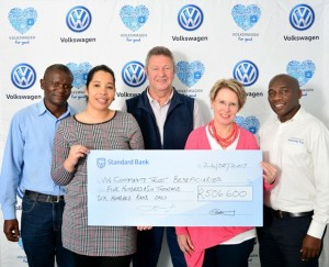 From L-R: Remmington Zokufa (Board of Trustees - Volkswagen Community Trust), Limeez Arends (PE Mental Health), Trevor Wiblin (St. Francis Hospice), Ansulene Prinsloo (Young Entrepreneurs Foundation) and Nkosinathi Clay (Community Trust)