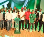 Team Coaches with the Nedbank Cup trophy during the 2018 Nedbank Cup Launch at Nedbank Head Offices, Sandton.