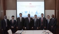 Arthur Peter Mutharika, President  of Malawi (fourth from left) meeting with Yi Xiang, Senior Vice President  of Huawei(fourth form right) in Beijing