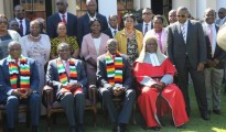 Standing (right) next to Chief Justice Luke Malaba is businessman Frank Buyanga at Zimbabwe State House at the swearing in of Zimbabwe Vice Presidents Constantino Chiwenga and Kembo Mohadi (seated) with President Emmerson Mnangagwa