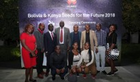 Huawei Kenya Seeds for the Future students in Beijing, with envoy, Vincent Omuse (back row, fourth left)