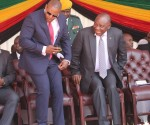 From (left-to-right), Zimbabwean entrepreneur based in South Africa Frank Buyanga, standing next to South African President Cyril Ramphosa at the inauguration of Zimbabwean President Emmerson Mnangagwa