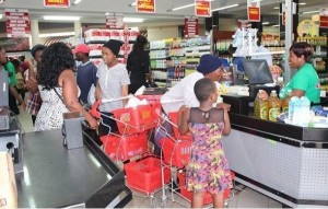 Customers buying basic commodities
