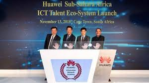Left to Right: Danny Lin (from Huawei), Dr Du Yue (UNESCO) Michael Meng (Huawei) and Jacques Nel (Huawei)