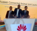 Left to right: Dean Yu, President of Huawei Southern Africa Carrier Business Group, Wanda Matandela, CEO of MTN SA's Enterprise Business Unit and Brian Xu, Huawei Cloud Core Sales and Marketing VP at the launch of the Connected Animal IoT solution in Cape Town
