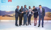 Left to Right - Lu Baoqiang: Huawei VP Southern Africa Region, Tim Ekandjo: MTC Chief Corp Officer; Engelbrecht Nawatiseb: Namibian Deputy ICT Minister, Elvis Nashilongo: MTC Board Chair, Patience Kanalelo: MTC Chief Legal Officer and Li Ran Huawei: VP Southern Africa Region