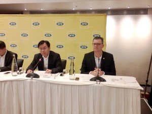Left Huidi Li, Executive Vice President at China Mobile and Rob Shutter, MTN Group Chief Executive Officer at the press event in Cape Town on Tuesday. Photo by Mthulisi Sibanda, CAJ News