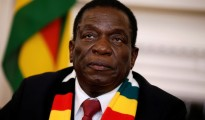 Zimbabwe's President Emmerson Mnangagwa looks on as he gives a media conference at the State House in Harare, Zimbabwe. picture by Philimon Bulawayo, Reuters