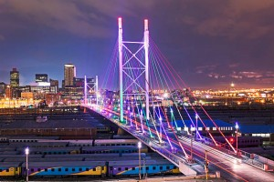 Multicolored lighting on Nelson Mandela Bridge in Johannesburg city, photo supplied