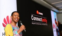 Stella Ndabeni-Abrahams speaking at Huawei's ConnectUnity launch
