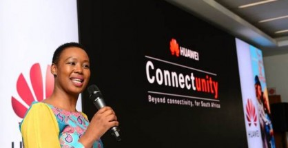 Stella Ndabeni-Abrahams speaking at Huawei's ConnectUnity launch