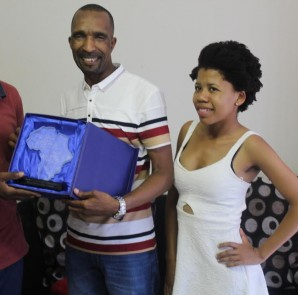 Receiving award of media excellency on behalf of CAJ News Africa as Pan Africa's best news agency in the African continent is the late Gift 'Kavhuno' Ndolwane (left), Miss Africa Executive Chairman Mr Neo Mashishi (centre) and former CAJ News Africa Events specialist Ms Dikeledi Nokwane (right). Photo by Mthulisi Sibanda, CAJ News Africa