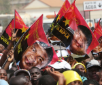 People's Liberation Movement of Angola (MPLA) supporters campaigning for its Presidential candidate Joao Lourenco in 2017, now Angola head of state. Photo, supplied