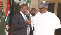 South African president Cyril Ramaphosa with his Nigerian counterpart Muhammadu Buhari. File photo