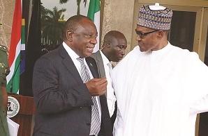 South African president Cyril Ramaphosa with his Nigerian counterpart Muhammadu Buhari. File photo