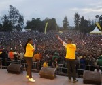 Thousands Rwandans throng MTN's official launch of its fourth edition of Mobile Money (MoMo) Month. Photo by Phyllis Birori, CAJ News Africa Rwanda Bureau
