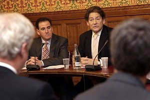 Dr Benny Peiser of the GWPF (left) with Lord Lawson