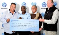 From left to right: Dennis Bellairs (Gelvan Park Frail Aged Home); Nkosinathi Clay (VW Community Trust); William Heynes (Cleary Estate Cheshire Home); Gary Koekemoer (Bet Sheekoom House of Restoration for Women In Crisis). Absent from pic: Cole Cameron (Igazi Foundation).
