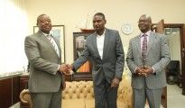 Zimpapers Group CEO Mr. Pikirayi Deketeke (left) with CAJ News Africa CEO (centre) Savious-Parker Kwinika following the news deal partnership. Looking on is Zimpapers Editorial > Executive, Mr. William Chikoto. Pictures by Tawanda Mudimu, Herald