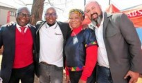 Left to right: Oscar Siziba, Absa Managing Executive, Tshepo Seeta, eSpaza Sum Managing Director and founder; Anastasia Mathabathe, Spaza shop owner in Mamelodi and Tony Ferreira, Operations Director at Big Save celebrate the upliftment of the township economy.