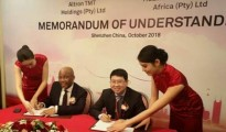 Altron Group Chief Executive, Mteto Nyati, and Huawei South Africa Chief Executive, Fan Wen, sign the memorandum of understanding to provide IoT solutions for businesses in South Africa and the Rest of Africa