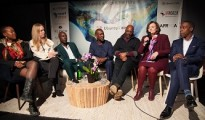 Cherie Blair with other panelist such as Kojo Anan (on far right), Richelieu Dennis (left of Ms Blair) Elsie Kanza (far left) , Ozwald Boateng, Founder, Ozwald Boateng; Dr. Akintoye Akindele, Chairman, Platform Capital